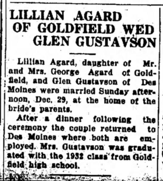 Glenn Gustafson and Lillian Agard Wedding announcement - LILLIAN AGARD OF GOLDFIELD WED GLEN GUSTAVSON...