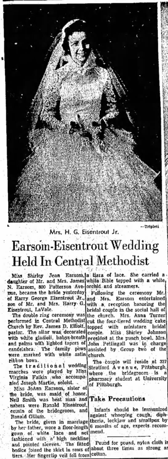 Harry George Eisentrout & Shirley Jean Earasom  Wedding - August 31, 1957 - Earsom-Eisentrout Wedding Held In Central...