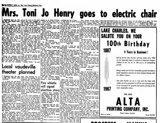 Toni Jo Henry Execution 1942 - Harry. twitch fend 2C sowing I Three pronour...