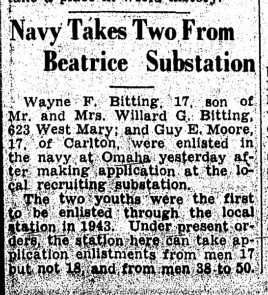 Wayne Bitting death - 6 Jan 1943 - Navy Takes Two From * Beatrice Substation Wayne...