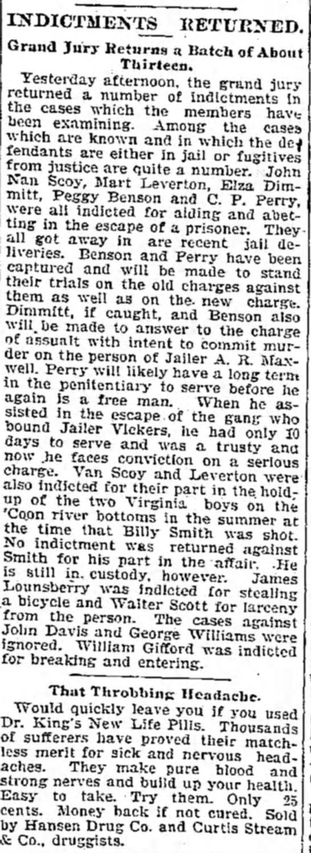 Dimmitt - crime  13 Oct 1899 The Daily Iowa Capitol - EffDICTMENTS_ EBTURXED. Irand Jury Returns a...