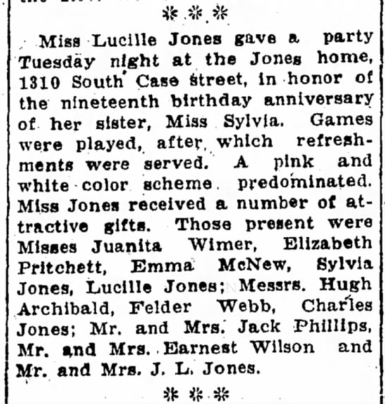 8/3/24 Sylvias 19th bd - Miss Lucille Jones gave a party Tuesday night...