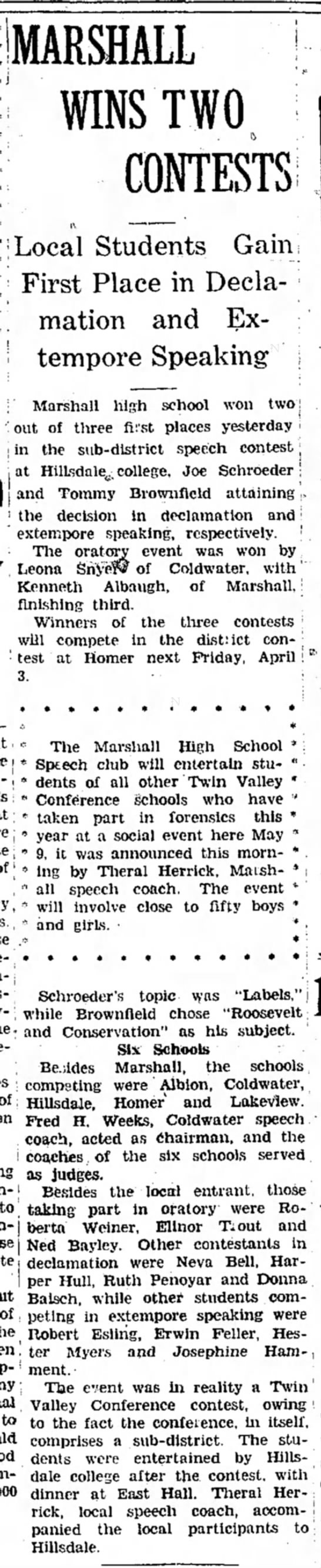 Weeks - Fred H. Marshall Evening Chronicle (Marshall, Michigan) 27 March 1936 p 1 - J MARSHALL ! WINS TWO. CONTESTS; Local Students...