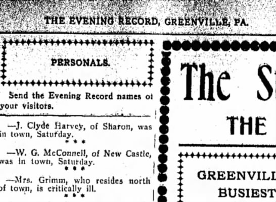 Grimm 12 March 1906 The Record Argus-Greenville, PA