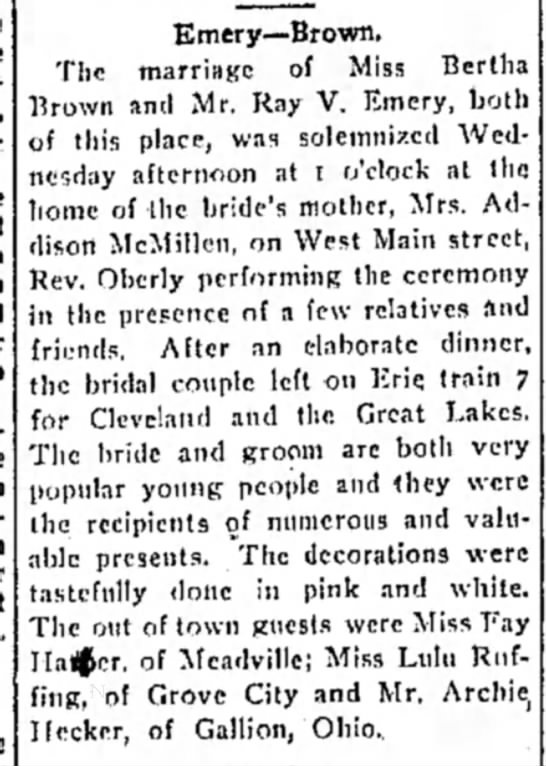 Lulu Ruffing-attends wedding - Emery—Brown. The marriage of Miss Bertha Brown...