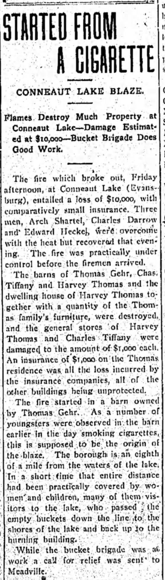 Record Argus 7/14/1906 - CONNEAUT LAKE BLAZE. Flames Destroy Much...