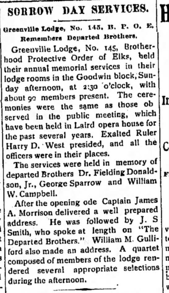 Services in memory of Elks brother George Sparrow (and others), William Campbell - SORROW BAY SERVICES. Greenville totlge, No....