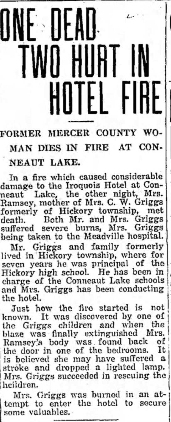 Record Argus 1/25/1918 - EH I I Iff ELF FORMER MERCER COUNTY WOMAN DIES...