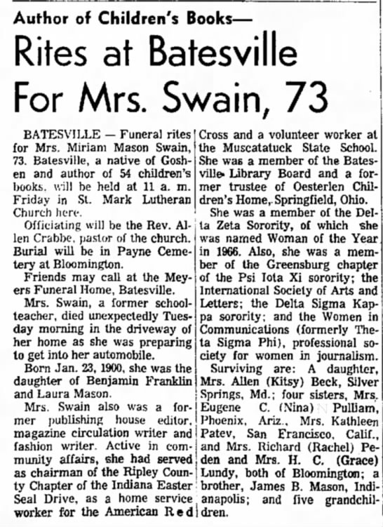 Miriam Mason Swain Obit - Author of Children's Books— Rites at Batesville...