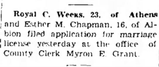 Marshall Evening Chronicle (Marshall, Michigan) 10 June 1937 p2 - Royal C. WeeKS. 23, of Athens and Esther M....