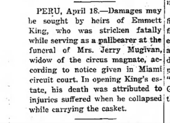 Mugivan Pallbearer Suit 4-18-1938 - PERU, April IS.—Damages may be sought by heirs...