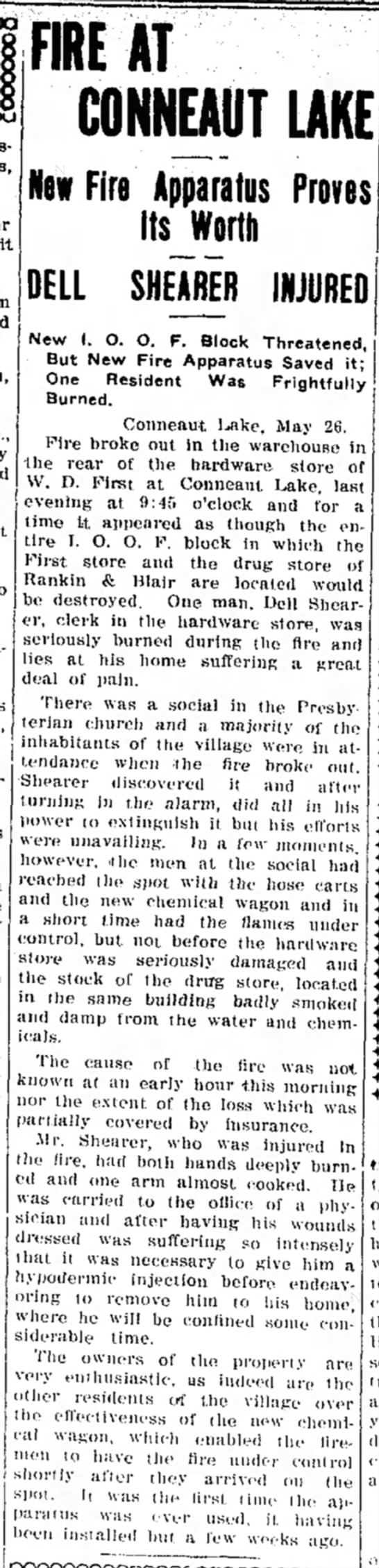 Record Argus 5/26/1911 - FIRE AT CONNEAUT LAKE New Fire Apparatus Proves...