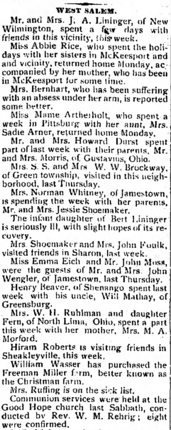 Mrs. Ruffing-sick - WEST SAI.KM. Mr. and Mrs. J. A. Lininger, of...
