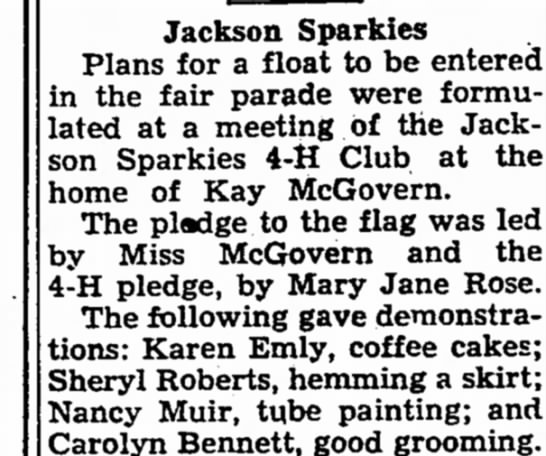 Mary Jane Rose - Jackson Sparkies Plans for a float to be...