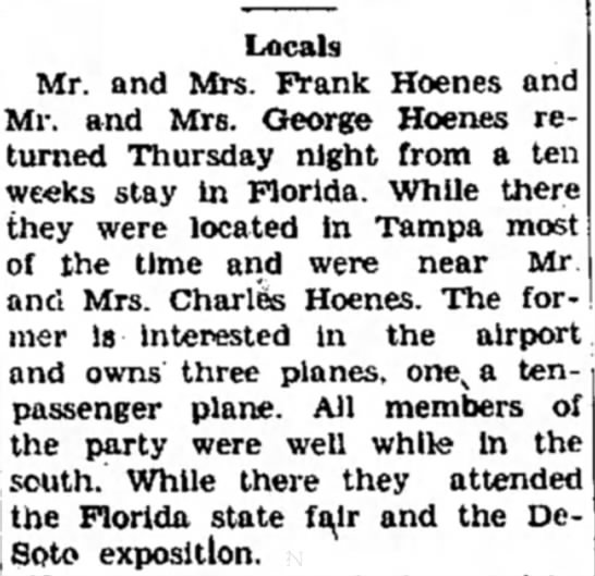 Charles Hoenes - Locals Mr. and Mrs. Frank Hoenes and Mr. and...