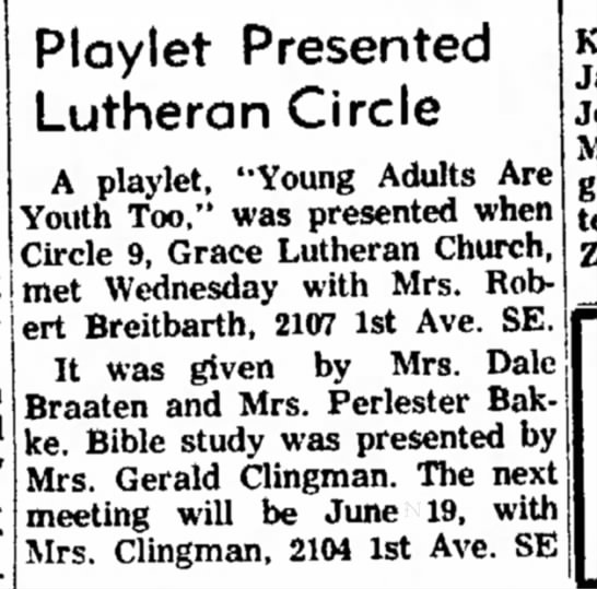 - Playlet Presented Lutheran Circle A playlet,...