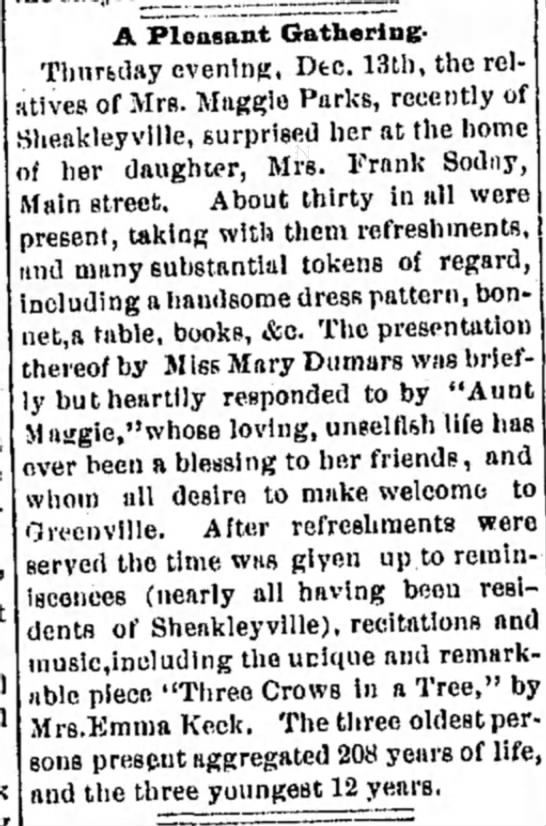 Gathering of Relatives at Mrs Frank Soday's home. Dec 21, 1888