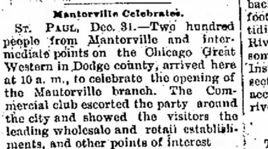Mantorville Rail Line Opens - rTlllfl Celebrate*. ST. PAUL, Dec..3l.--Two...