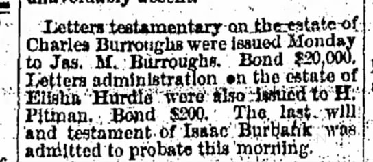 Charles Burroughs Estate Article Cambridge City Tribune 29 April 1876 - Xettcrs teaUmcntary on ,, . Charles Burroughs...