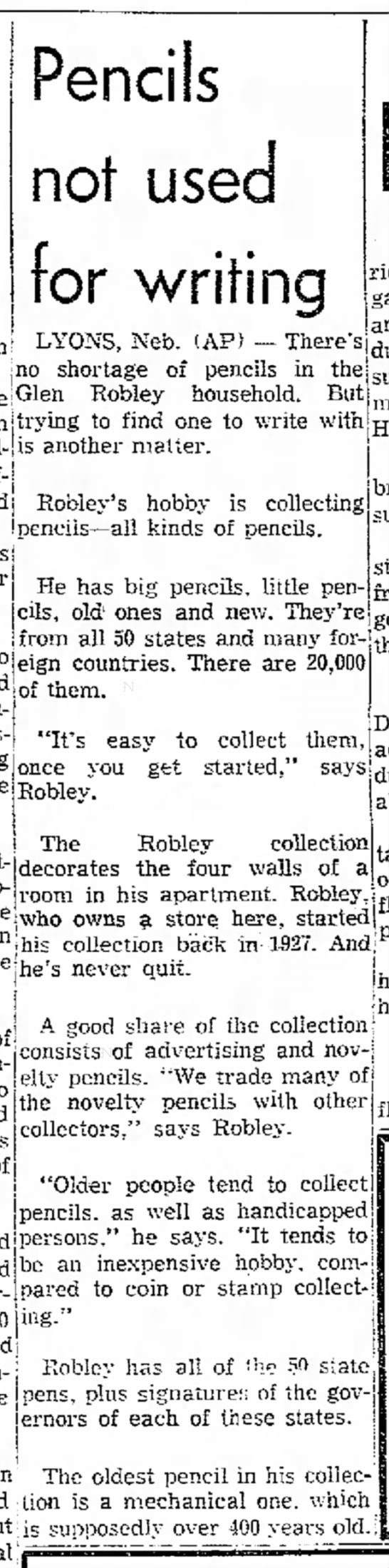 Glen Robley's Pencil collection-Daily Capital News, Jeff City, Missouri-21 Dec, 1967-page 19 - Pencils not used for writing LYONS, Neb. (AP)...