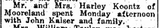 "- Mr."" and Mra. Hrley Koontz of ifooreland spent..."