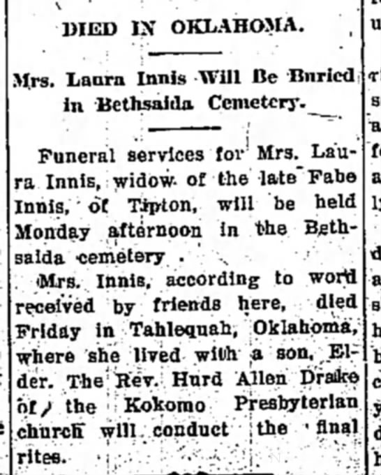 Laura Roll Innis, 1941 - DIED IN OKLAHO5IA. Mrs. Laura Innls Will Be...