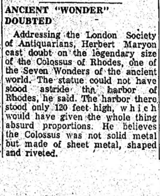 "Herbert Maryon on the Colossus of Rhodes, The Grape Belt and Chautauqua Farmer, 2 April 1954 - ANCIENT ""WONDER"" DOUBTED, Addressing -the..."