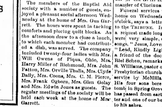 Mrs Jones in Richmond 1915? - The members of the Baptist Aid a number of...