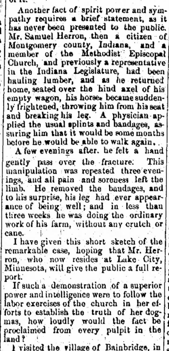 ?Samuel Herron broken leg. by Cambridge City Tuibune 8 Jan 1874