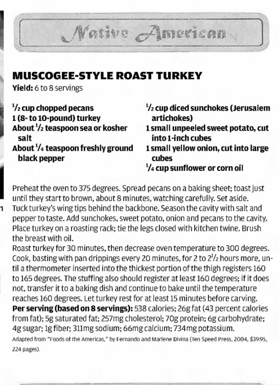 Muscogee-style roast turkey recipe