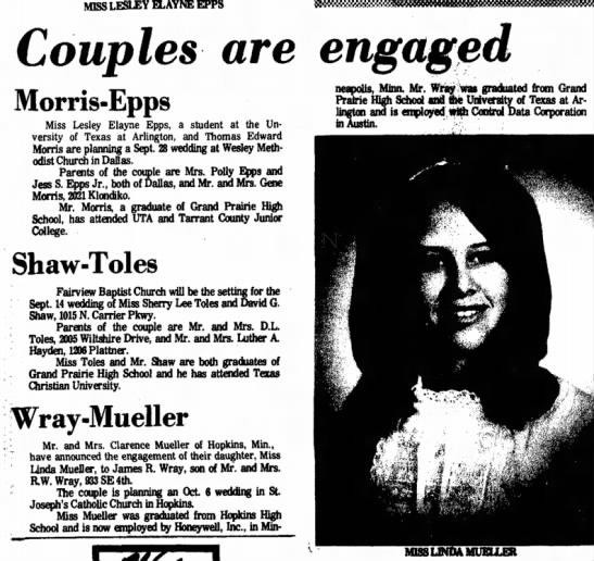 Jimmy Wray's Marriage to Linda 1973 - MISS LESLEY ELAYNE EPPS ^ Couples are engaged...