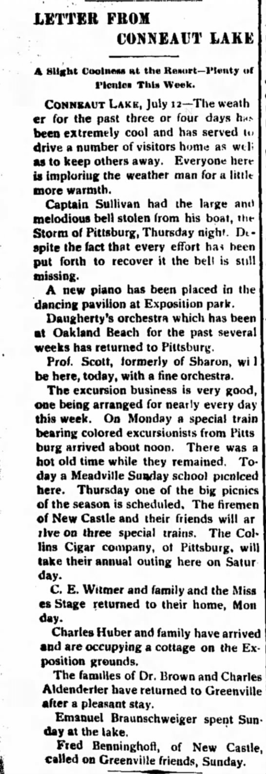 Record Argus 7/14/1898 Sullivan's Bell - LETTER FROM CONNEAUT LAKE A Slight CooliutiM Ht...