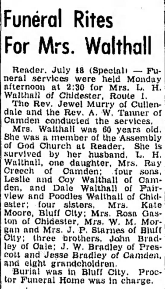 Celia May Bradley Walthall -Obit 1950 - Funeral Rites For Mrs. Walthall Render, July 18...