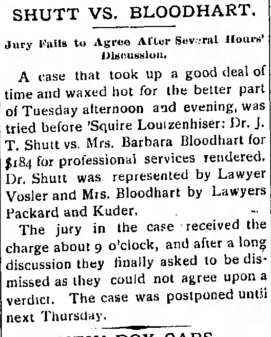 shutt, JT, Dr - SHUTT VS. BLOODHART. Jury Vails to Agree After...