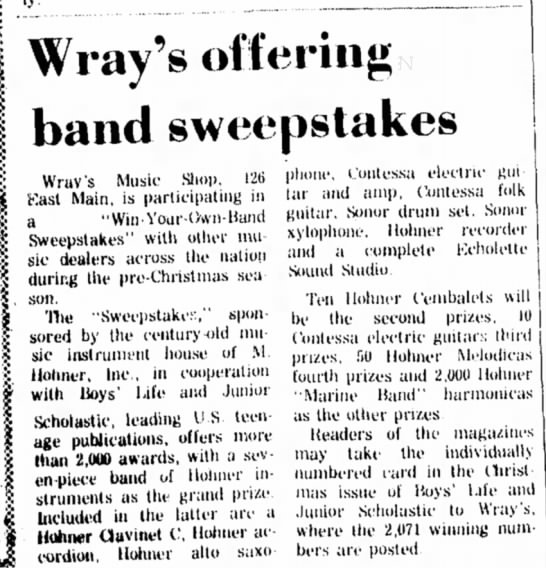 Nov 1968 Wray's offer band sweepstakes - Wray's offering band sweepstakes Wrav's Music...