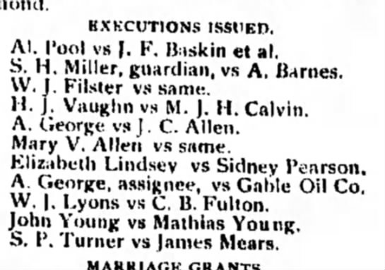 what is an execution? - EXECUTIONS ISSUED. Al. Pool vs J. F. B.iskin et...