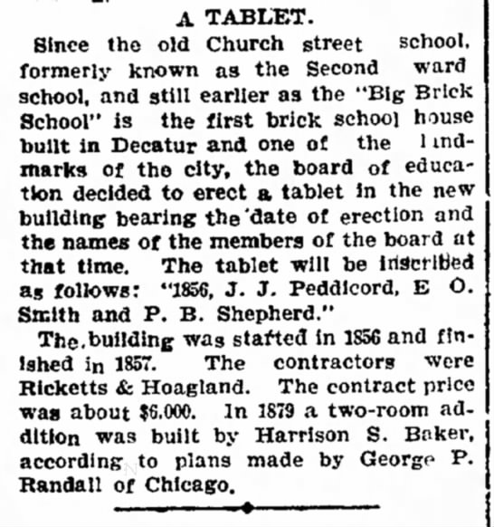 PEDDICORD J J Brick church in Decatur. - A TABLET. Since the old Church street school,...
