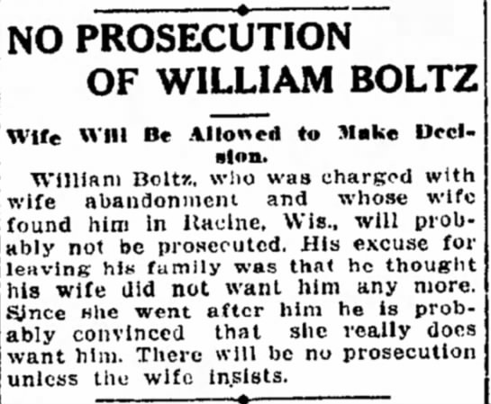 "No Prosecution on William Boltz - NO PROSECUTION"" OF WILLIAM BOLTZ Wife Will Be..."