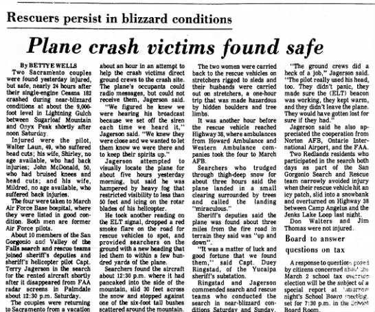 - Rescuers persist in blizzard conditions Plane...