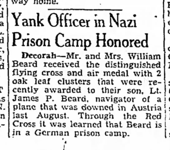 - Yank Officer in Nazi Prison Camp Honored...