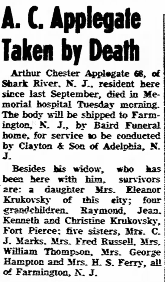 Eleanor's father - Obit