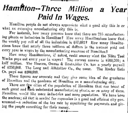 Hamilton Three Million a Year Paid In Wages