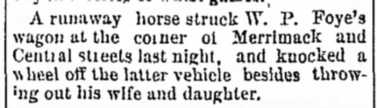 - the and de- A runaway horse struck W. P. wagon...