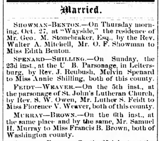 Luther Feidt - Florence Weaver wed
