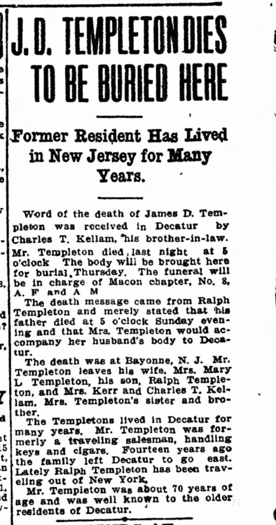 Templeton,James D. Dec 1909 CW Obit - Its Music We Look Bros., the low Packard House?...