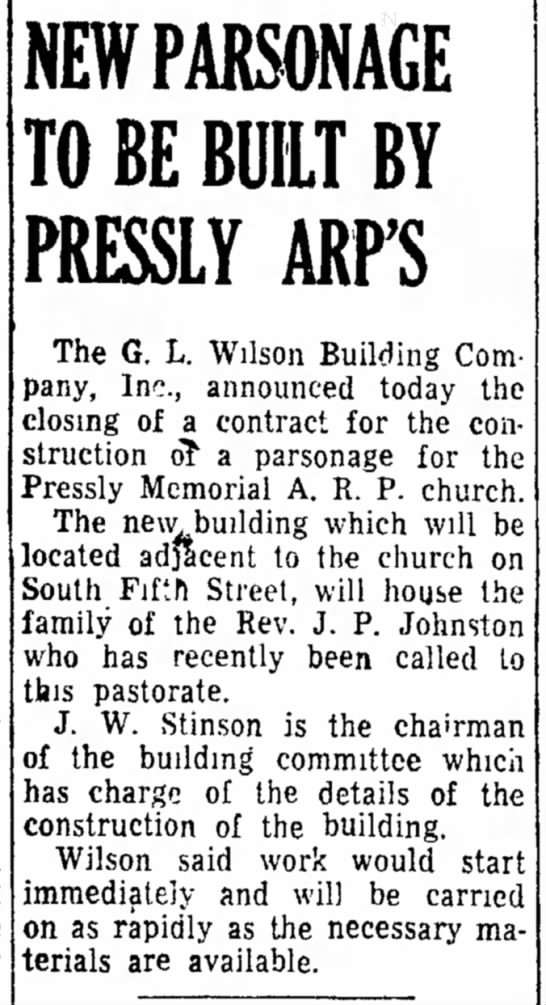 1945: One of GLWBCO's first contracts. - and the was NEW PARSONAGE TO BE BUILT BY...