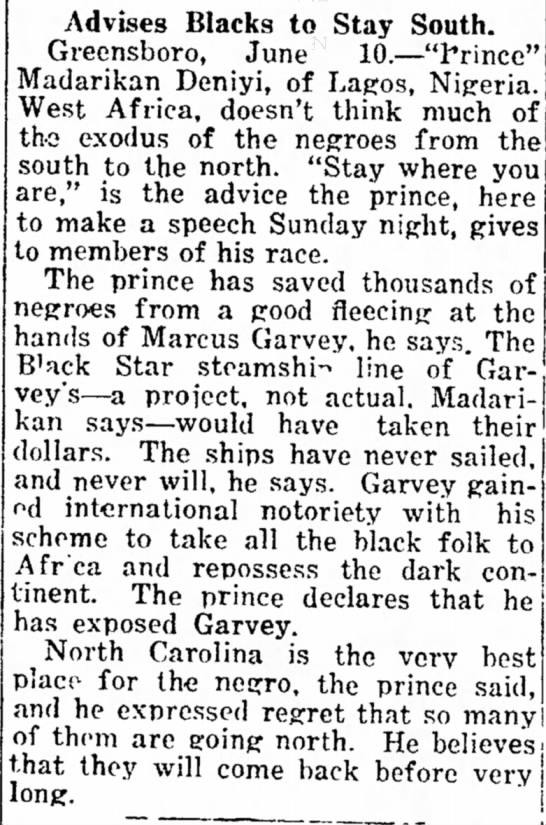 marcus garvey 1 - In half- Advises Blacks to Stay South....