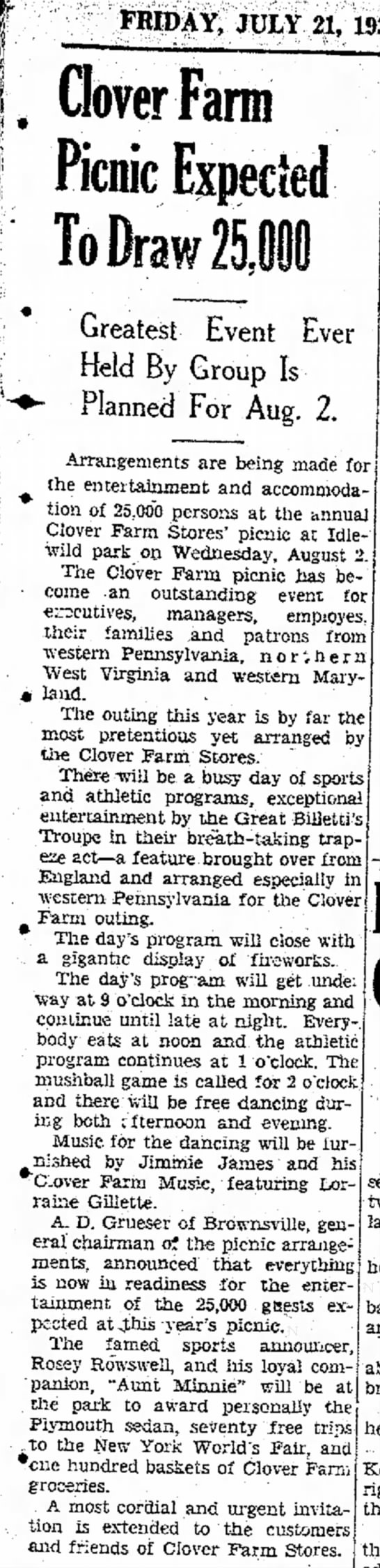 Billetti - July 21, 1939The Evening Standard Uniontown PA - FRIDAY, JULY 21, Clover Farm Picnic Expected...