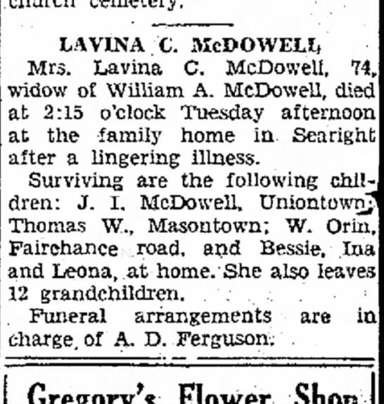 The Evening Standard, Uniontown, PA 13 September 1939 - the 67 LAVINA c. MCDOWELL Mrs. Lavina C....