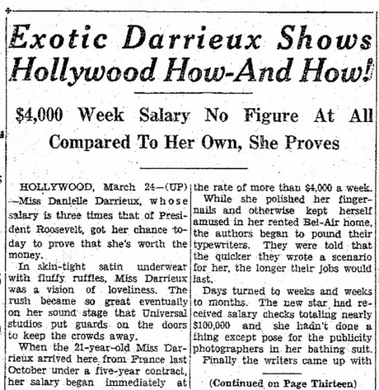DARRIEUX - 1938 - Exotic Darrieux Shows Week Salary No Figure At...
